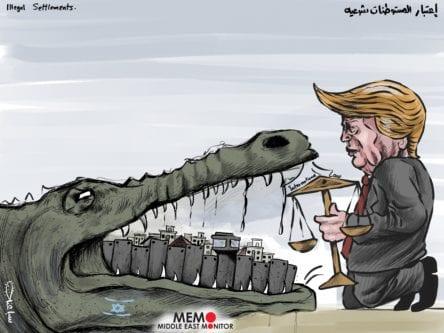 Trump não se preocupa com o Direito Internacional e torna legais os assentamentos ilegais - Charge [Sabaaneh / Monitor do Oriente Médio]