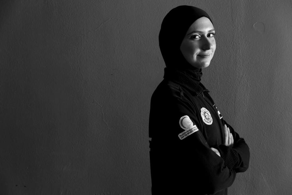 Patinadora Zahra Lari fotografada na Cidade do Esporte de Zayed, em Abu Dhabi, Emirados Árabes Unidos. 13 de setembro de 2019 [Irmãos Bukhash]