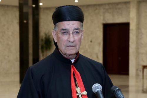 Bechara Boutros al-Rai, patriarca cristão maronita do Líbano, em Beirute, 29 de agosto de 2018 [Presidência do Líbano/Agência Anadolu]