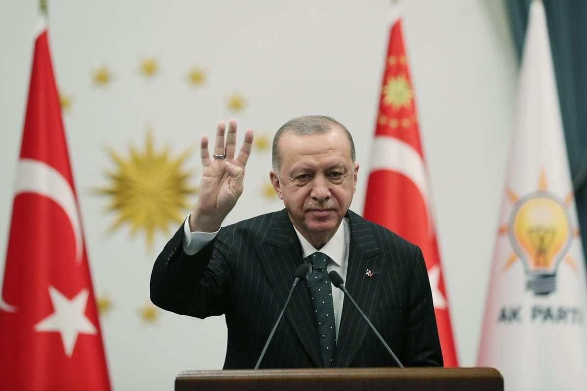 O presidente turco e líder do Partido da Justiça e Desenvolvimento (Partido AK), Recep Tayyip Erdogan, participa do congresso de seu partido em Ancara, Turquia, em 13 de janeiro de 2021. [Agência Mustafa Kamacı/Anadolu]
