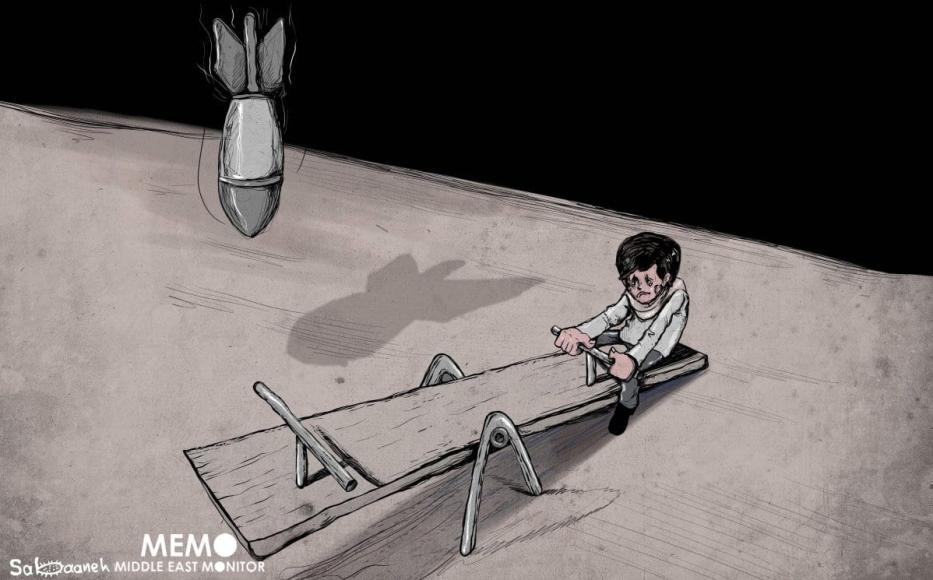 Forças israelenses visando crianças palestinas - Cartoon [Sabaaneh / Monitor do Oriente Médio]