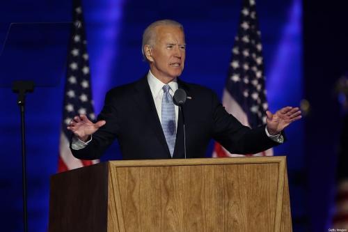 Joe Biden, presidente eleito dos Estados Unidos, discursa à nação da cidade de Wilmington, Delaware, 7 de novembro de 2020 [Tasos Katopodis/Getty Images]