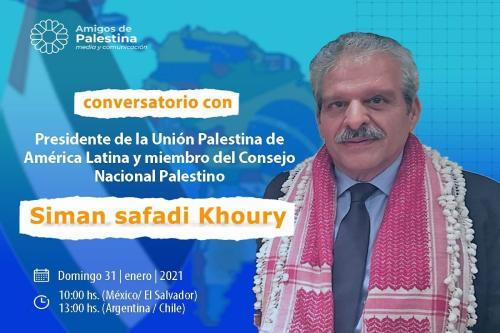 o presidente da União Palestina da América Latina, Siman Safadi Khoury