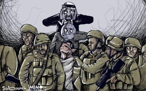 Jovem palestino é preso por tropas da ocupação israelense em Hebron (Al-Khalil). Regimes árabes e a comunidade internacional mantêm silêncio [Sabaaneh/Monitor do Oriente Médio]