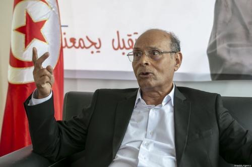 O ex-presidente da Tunísia Moncef Marzouki fala durante uma entrevista exclusiva em Túnis, Tunísia em 01 de setembro de 2019 [Yassine Gaidi / Anadolu Agência]