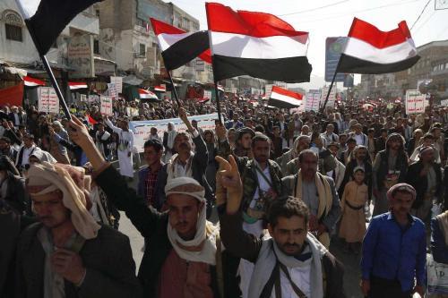 Apoiadores dos Houthis participam da marcha por ocasião do 5º aniversário de Houthis controle da capital iemenita Sanaa, em 21 de setembro de 2019 [Agência Mohammed Hamoud / Anadolu]