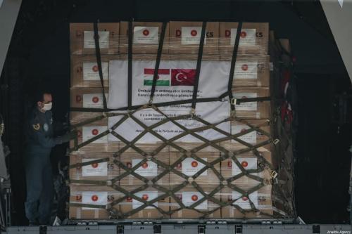 Equipamentos médicos enviados pela Turquia à Somália, em 4 de junho de 2020 [Metin Aktaş/Agência Anadolu]