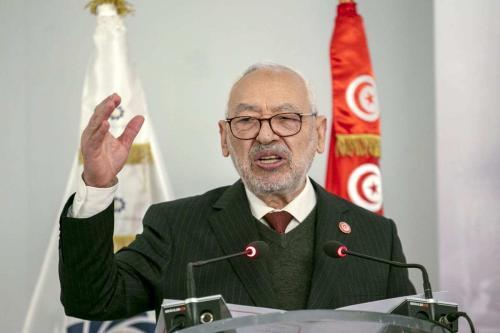 Rached Ghannouchi, presidente do parlamento tunisino e chefe do Movimento Ennahda, fala durante um painel em Túnis, Tunísia, em 12 de janeiro de 2021. [Yassine Gaidi/Anadolu Agency]