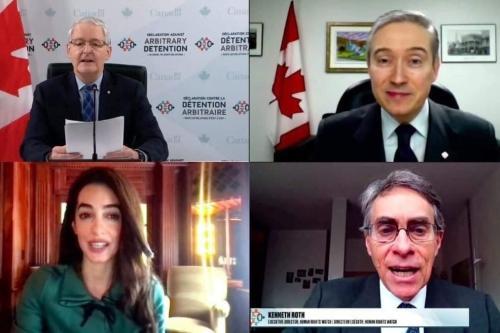 Ministro de Relações Exteriores do Canadá Marc Garneau lança a chamada Declaração contra a Detenção Arbitrária, em videoconferência realizada em 15 de fevereiro de 2021 [Marc Garneau/Twitter]