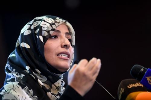 Tawakkol Karman, ativista iemenita condecorada com o Prêmio Nobel da Paz, em Istambul, Turquia, 11 de novembro de 2018 [Ozan Kose/AFP/Getty Images]