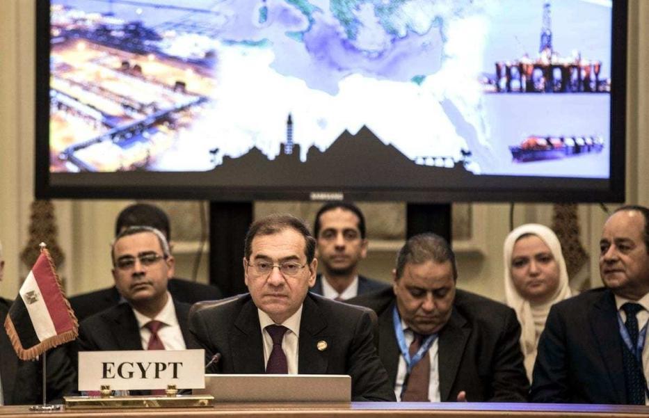 Ministro de Petróleo do Egito Tarek el-Molla participa do Fórum sobre Gás Natural do Mediterrâneo Oriental, no Cairo, Egito, 16 de janeiro de 2020 [Khaled Desouki/AFP via Getty Images]