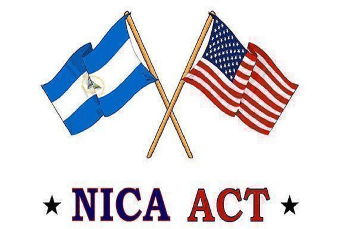 Bandeira de Nicarágua e dos Estados Unidos