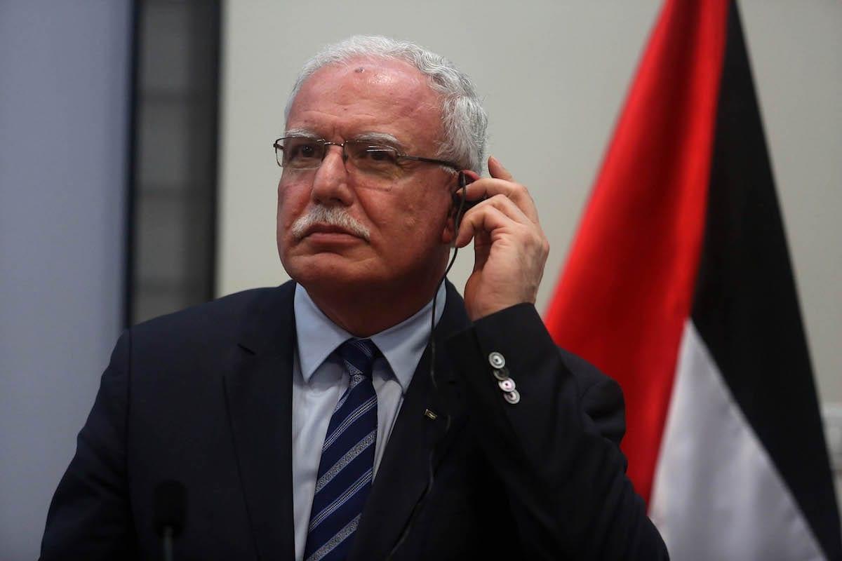 Ministro das Relações Exteriores palestino Riyad Al-Maliki em Ramallah, Cisjordânia em 15 de março de 2017 [Issam Rimawi / Agência Anadolu]