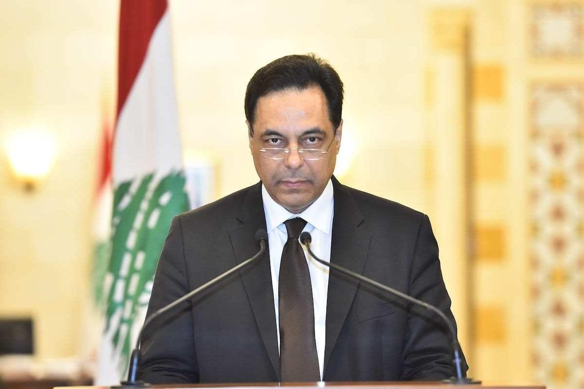 O primeiro-ministro libanês, Hassan Diab, na capital Beirute, Líbano, em 10 de agosto de 2020. [Presidência libanesa/Agência Anadolu]