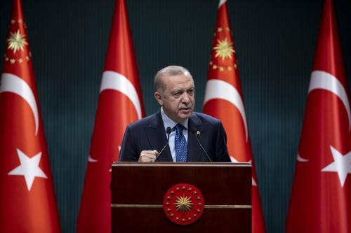 Presidente da Turquia, Recep Tayyip Erdogan, em Ancara, Turquia, em 1 de março de 2021. [Aytaç Ünal/Agência Anadolu]