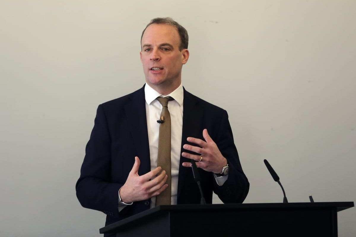 Secretário de Relações Exteriores do Reino Unido Dominic Raab em Londres, 29 de janeiro de 2020 [İlyas Tayfun Salcı/Agência Anadolu]