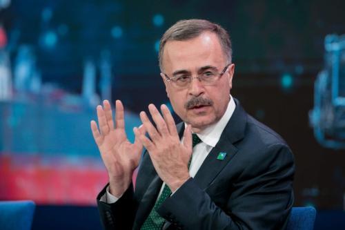 Amin Nasser, diretor executivo da corporação petrolífera saudita Aramco, durante sessão do Fórum Econômico Mundial em Davos, Suíça, 23 de janeiro de 2020 [Jason Alden/Bloomberg via Getty Images]