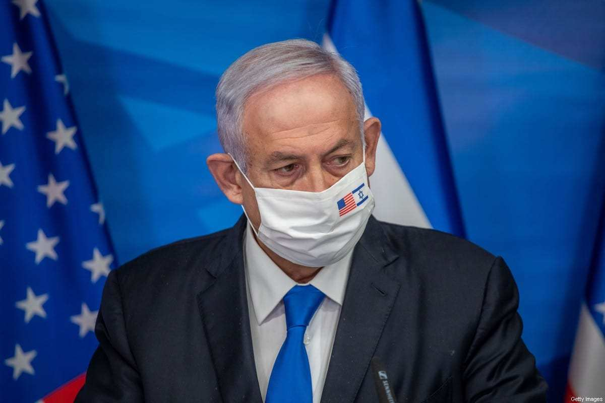 O primeiro-ministro israelense, Benjamin Netanyahu, em Jerusalém, em 7 de janeiro de 2021. [Emil Salman/POOL/AFP/Getty Images]