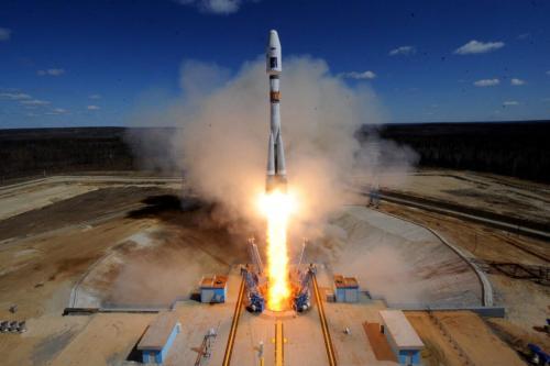 Um foguete russo Soyuz 2.1a na região do extremo leste de Amur, em 28 de abril de 2016. [Kirill Kudryavtsev/AFP via Getty Images]