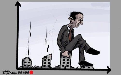 Assad está arruinando a economia da Síria? - charge [Sabaaneh/ Monitor do Oriente Médio]