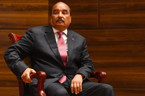 Ex-Presidente da Mauritânia Ould Abdel Aziz, na capital Nouakchott em 1° de agosto de 2019 [Seyllou/AFP/Getty Images]