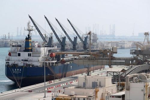 Produção de gás administrada pela Qatar Petroleum em Doha, em 6 de fevereiro de 2017 [Karim Jaafar/ AFP / Getty Images]