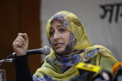 Tawakkol Karman, ganhadora do Prêmio Nobel da Paz, em 11 de novembro de 2018, em Istambul. [Ozan Kose/AFP via Getty Images]