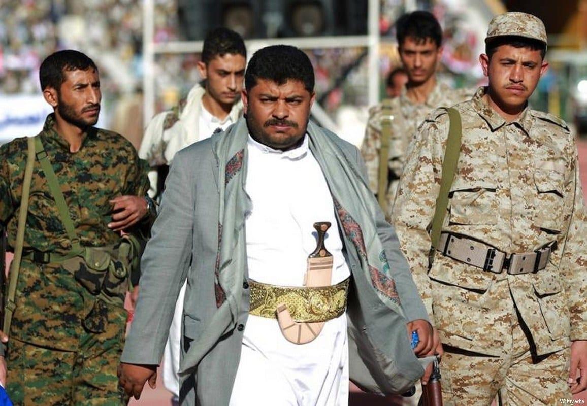 Mohammed Ali al-Houthi (centro), chefe do Comitê Revolucionário do Iêmen, em 6 de junho de 2017 [Wikipedia]