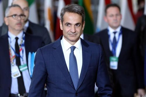 O primeiro-ministro grego, Kyriakos Mitsotakis, chega à sede da UE para participar de uma Cúpula da União Europeia em Bruxelas, Bélgica, em 17 de outubro de 2019 [Dursun Aydemir/Agência Anadolu]
