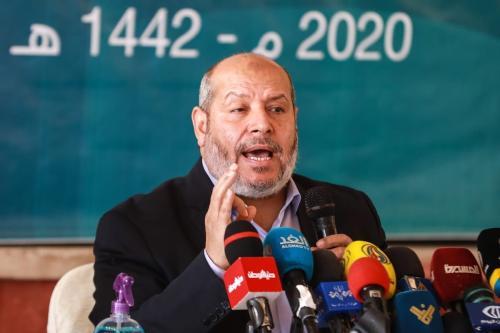 Khalil al-Hayya, oficial sênior do Hamas, durante reunião denominada 'Desenvolvimentos Nacionais', na Cidade de Gaza, 1° de dezembro de 2020 [Ali Jadallah/Agência Anadolu]