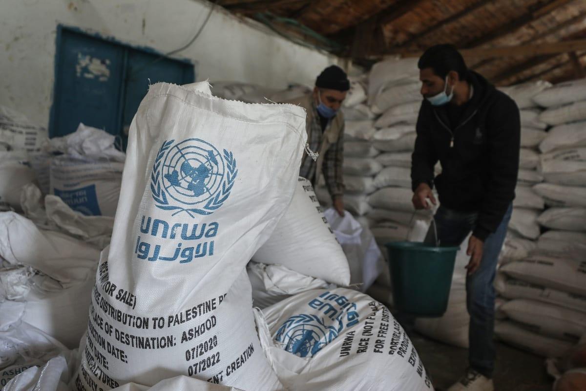 Trabalhadores da Agência das Nações Unidas para os Refugiados da Palestina (UNRWA) preparam ajuda para distribuir às famílias em Gaza, em 14 de janeiro de 2020. [Ali Jadallah/Agência Anadolu]