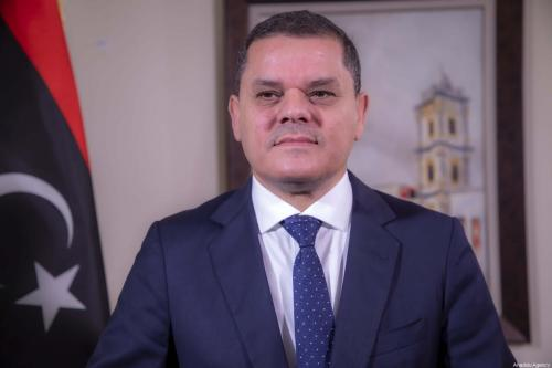 Primeiro-Ministro da Líbia Abdul Hamid Dbeibah durante entrevista exclusiva na capital Trípoli, em 6 de fevereiro de 2021 [Mücahit Aydemir/Agência Anadolu]