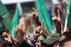 Palestinos se reúnem em Gaza em apoio a Jerusalém e à Mesquita de Al-Aqsa após o local sagrado muçulmano sofrer ofensivas e ataques israelenses, 30 de abril de 2021 [Mohammed Asad / Monitor do Oriente Médio]