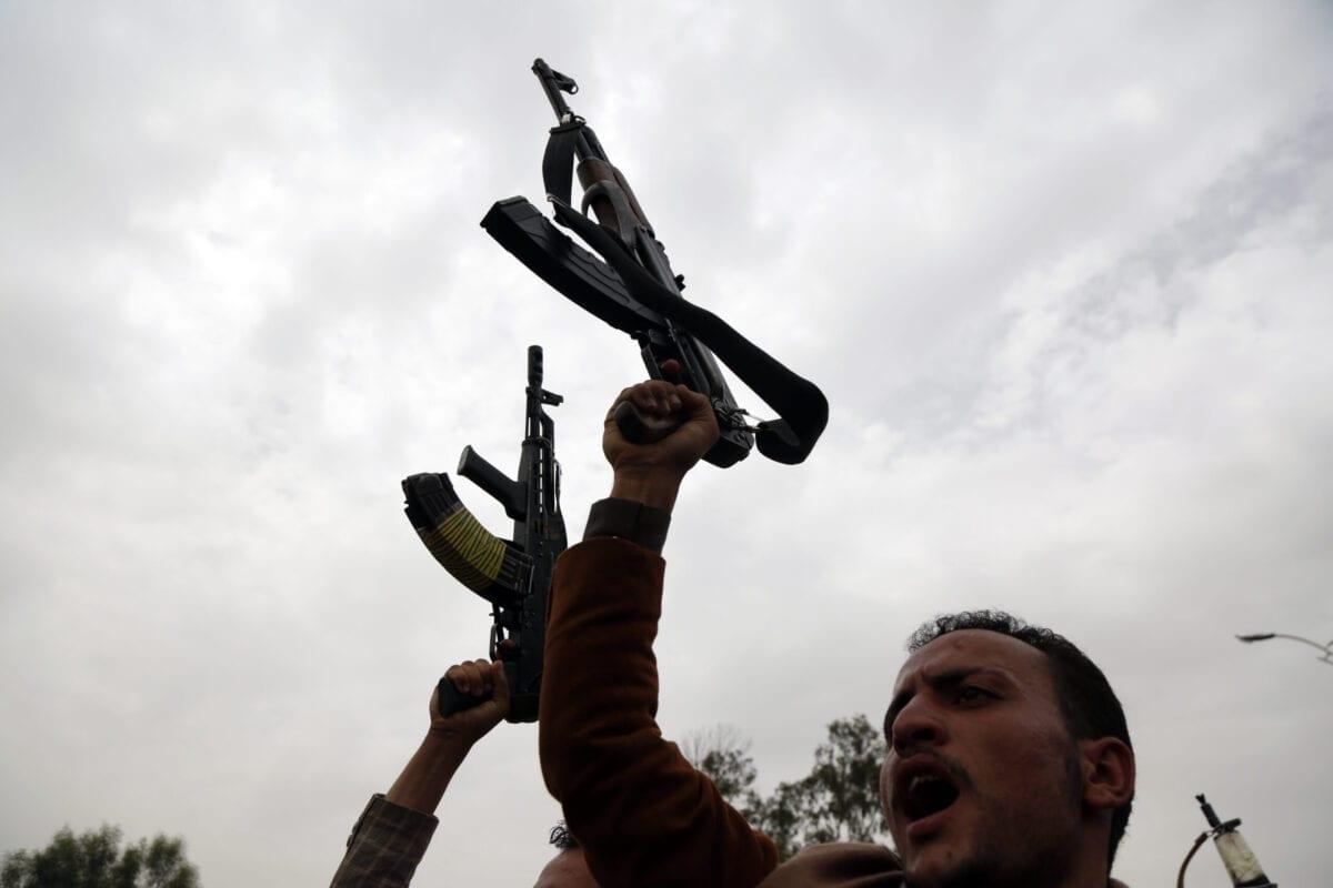 Houthis iemenitas em Sanaa, Iêmen, em 8 de agosto de 2020 [Mohammed Hamoud/Getty Images]