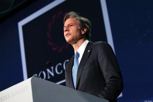 Secretário de Estado dos Estados Unidos, Anthony Blinken, em 19 de setembro de 2016 na cidade de Nova York. [Paul Morigi / Getty Images para Concordia Summit]