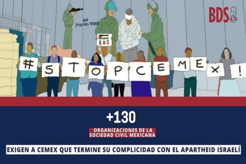 Imagem de divulgação da campanha #StopCEMEX do movimento BDS