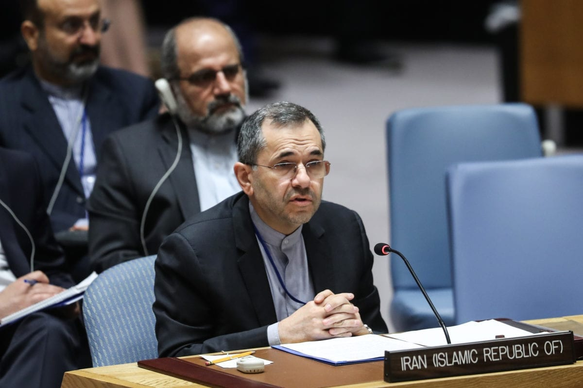 Embaixador do Irã nas Nações Unidas (ONU), Majid Takht Ravanchi, em Nova Iorque, EUA, em 26 de junho de 2019 [Atılgan Özdil/Agência Anadolu]