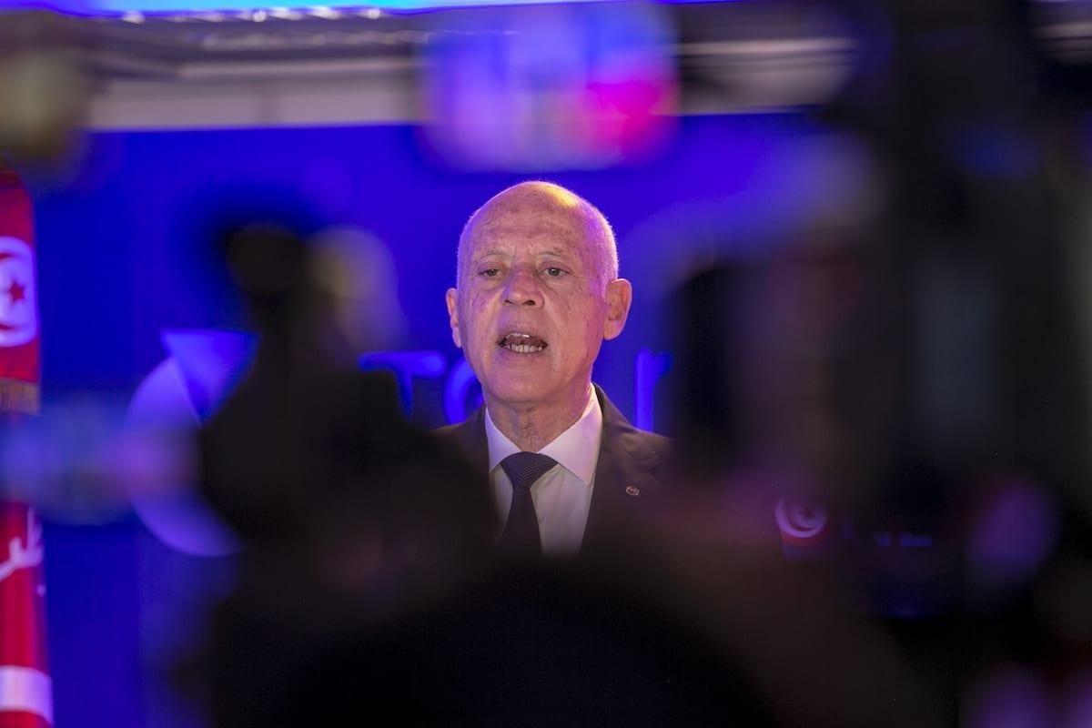 O presidente da Tunísia, Kais Saied, fala durante cerimônia em Túnis, Tunísia, em 22 de março de 2021 [Yassine Gaidi/Agência Anadolu]