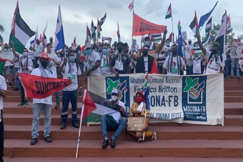 Manifestação contra o genocídio do povo palestino em Cinta Costera, Panamá, em 21 de março de 2021 [MoconaFB/Twitter]