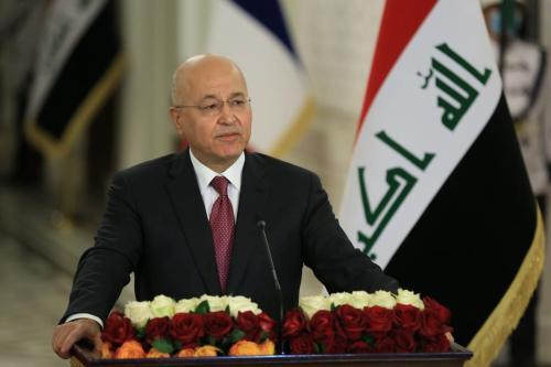 O presidente iraquiano, Barham Salih, durante uma entrevista coletiva em Bagdá, Iraque, em 02 de setembro de 2020 [Murtadha Al-Sudani/Agência Anadolu]