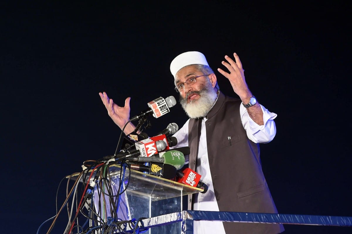 Chefe do Jamaat-e-Islami, Sirajul Haq, do Paquistão, em Lahore, Paquistão, em 13 de maio de 2018 [Arif Ali/AFP/Getty Images]