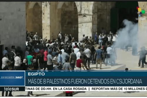 Telesur exibe imagens de protestos em meio à gás lacrimogêneo na Cisjordânia [Telesur]