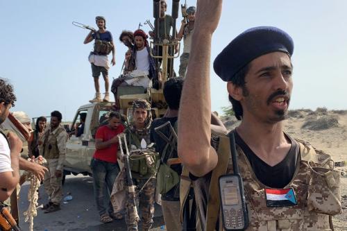 Lutadores leais aos separatistas do Conselho de Transição do Sul do Iêmen, em 16 de maio de 2020 [Nabil Hasan/AFP/Getty Images]