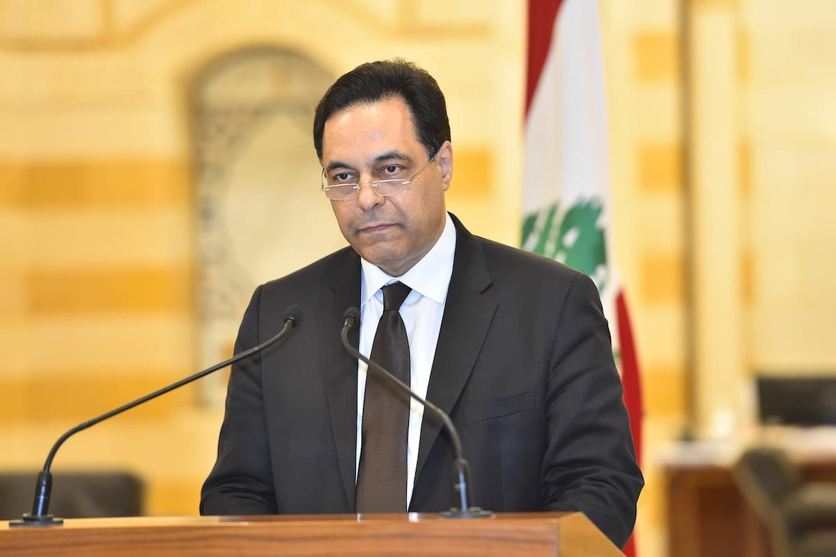O primeiro-ministro interino do Líbano, Hassan Diab, na capital Beirute, Líbano, em 10 de agosto de 2020 [Presidência Libanesa/Agência Anadolu]