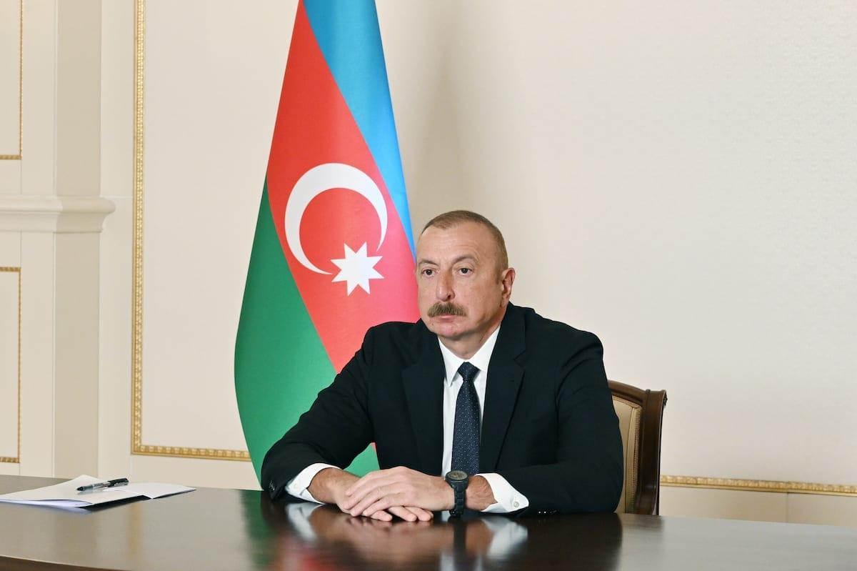 O presidente do Azerbaijão, Ilham Aliyev, participa da cúpula do Conselho Turco, em Baku, Azerbaijão, em 31 de março de 2021 [Presidência do Azerbaijão/Agência Anadolu]