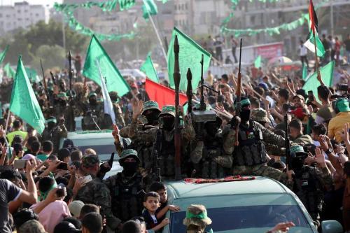 Desfile das Brigadas Ezzeddin al-Qassam, o braço armado do grupo palestino Hamas, é realizado na Cidade de Gaza, Gaza em 30 de maio de 2021 [Ashraf Amra/Agência Anadolu]