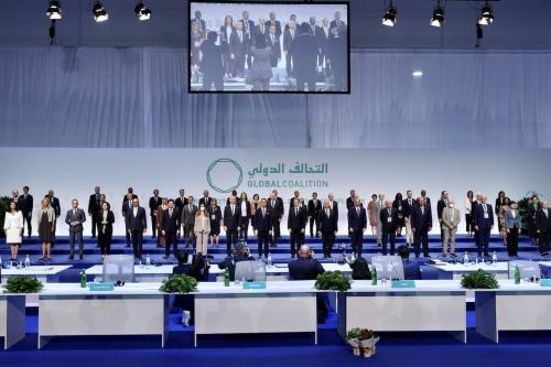 Os participantes da cerimônia da Reunião Ministerial da Coalizão Global para Derrotar Daesh em Roma, Itália, em 28 de junho de 2021 [Fatih Aktaş/Agência Anadolu]