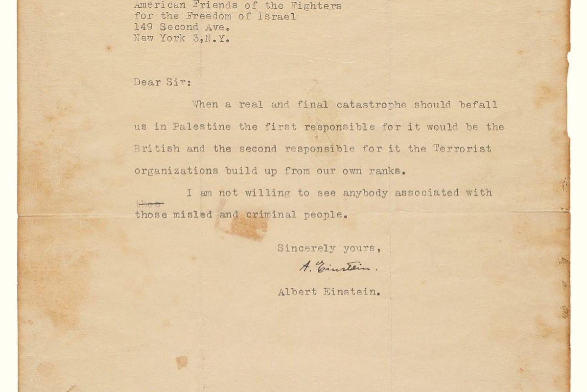 Carta de Albert Einstein [foto de arquivo]