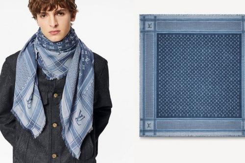Louis Vuitton lançou um lenço de designer de luxo fortemente influenciado pelo tradicional keffiyeh palestino, 4 de junho de 2021 [JatIkhwan/Twitter]