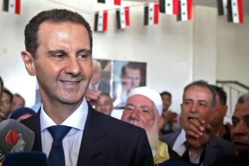 Presidente da Síria Bashar al-Assad, em 26 de maio de 2021 [Louai Beshara/AFP via Getty Images]